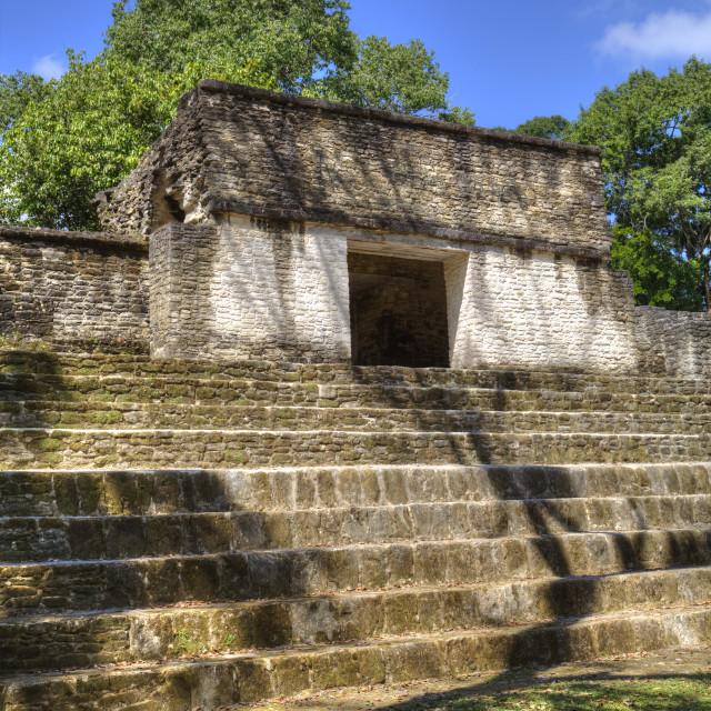 """Mayan Arch, entry to Plaza A, Cahal Pech Mayan Ruins, San Ignacio, Belize"" stock image"