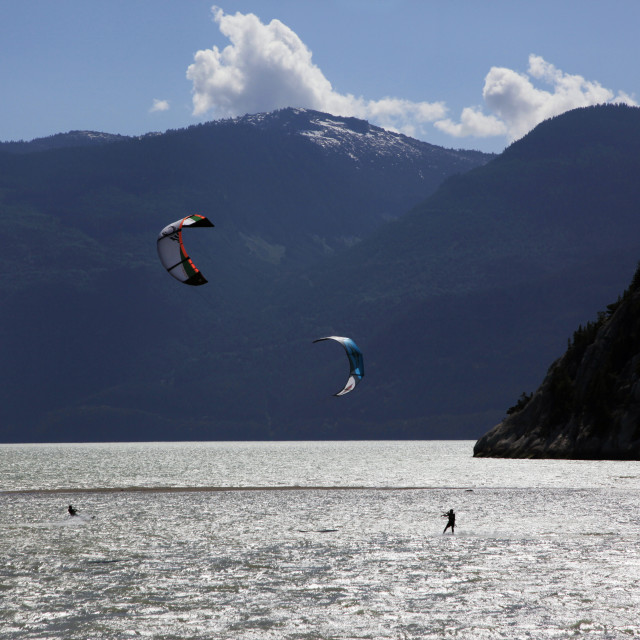"""""""Two kite surfers on Howe Sound at Squamish, British Columbia, Canada, North..."""" stock image"""