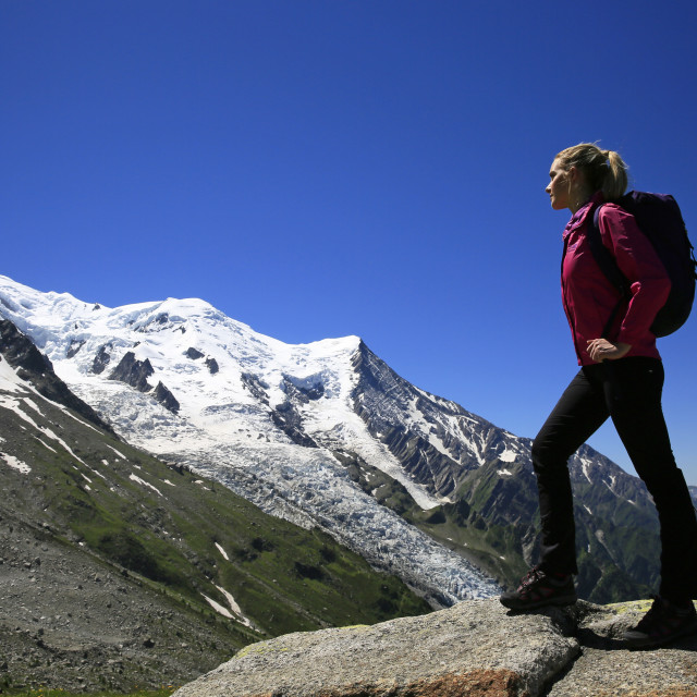 """A hiker in the Mont Blanc Massif, Chamonix, Haute Savoie, French Alps,..."" stock image"
