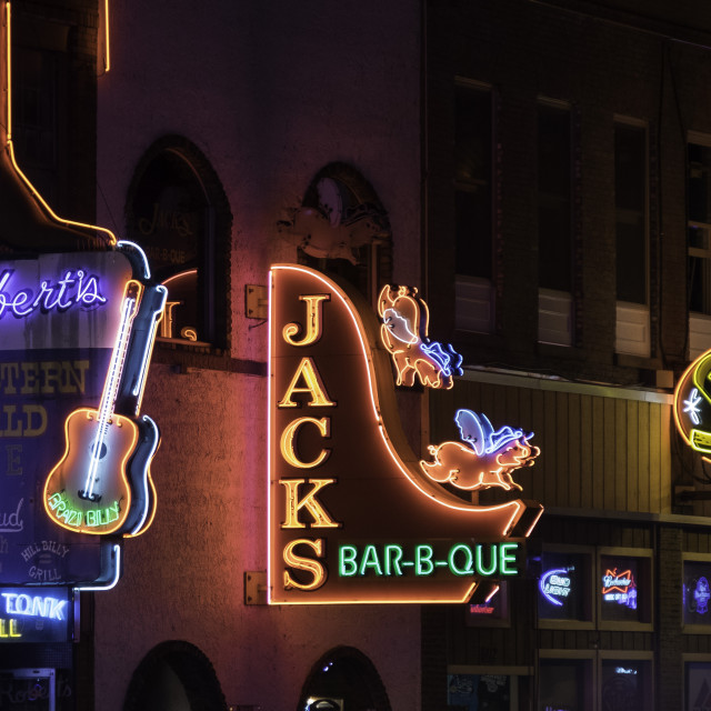 """""""Neon signs and historic music clubs along Lower Broadway in Nashville"""" stock image"""