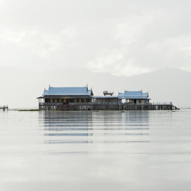 """Old 20th century British Lake resort, now being restored, Inle Lake, Shan state."" stock image"
