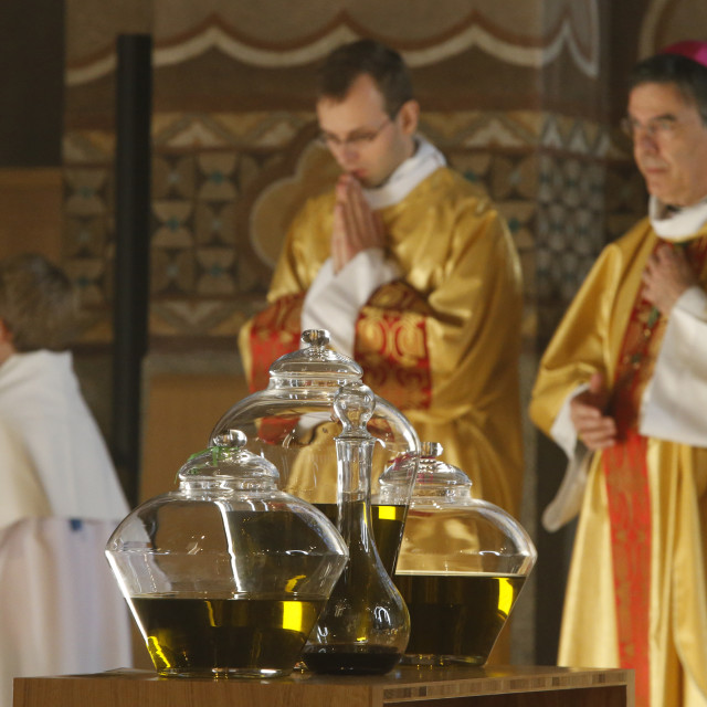 """""""Chrism mass in Sainte Genevieve's cathedral, Nanterre."""" stock image"""