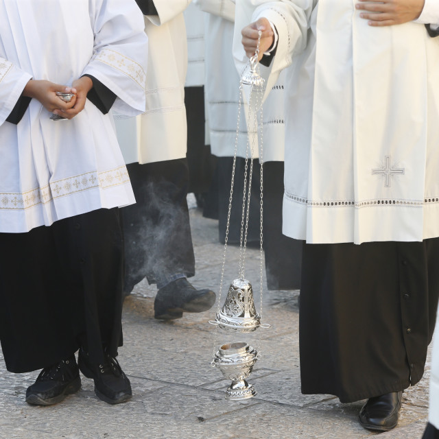 """Funeral of bishop Mons. Luigi Martella in Depressa, Puglia."" stock image"