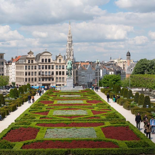 """""""Mont des Arts Garden, Brussels, Belgium, Europe"""" stock image"""