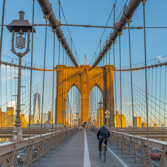 """USA, New York, Manhattan, Brooklyn Bridge over East River, Lower Manhattan..."" stock image"