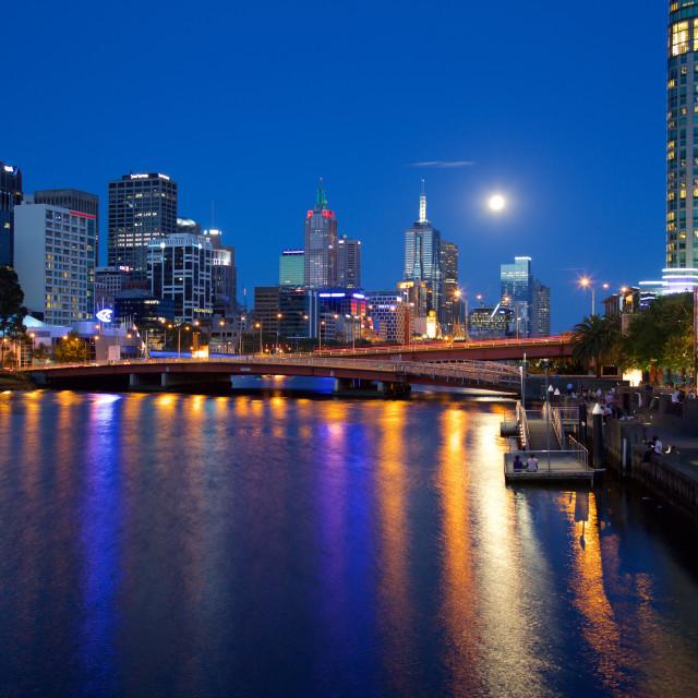 """Australia, Victoria, Melbourne, City Skyline from Southbank Promenade"" stock image"