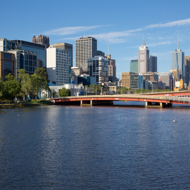 """Australia, Victoria, Melbourne, Yarra River and City Skyline"" stock image"