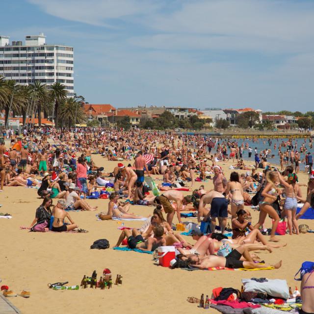 """Australia, Victoria, Melbourne, St Kilda Beach"" stock image"