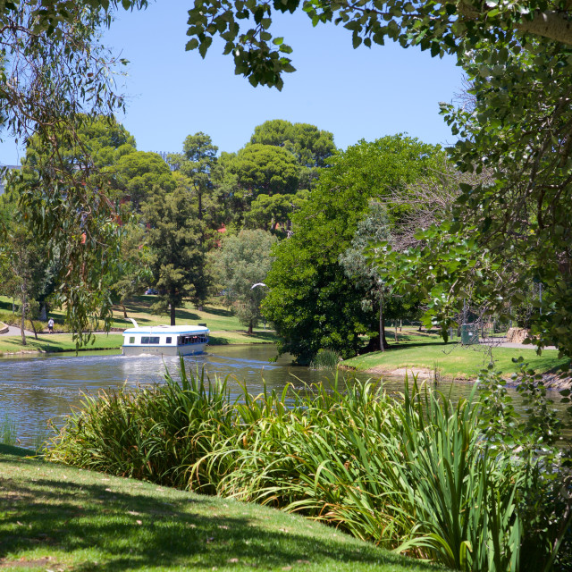 """Australia, South Australia, Adelaide, River Torrens and 'Popeye' boat"" stock image"