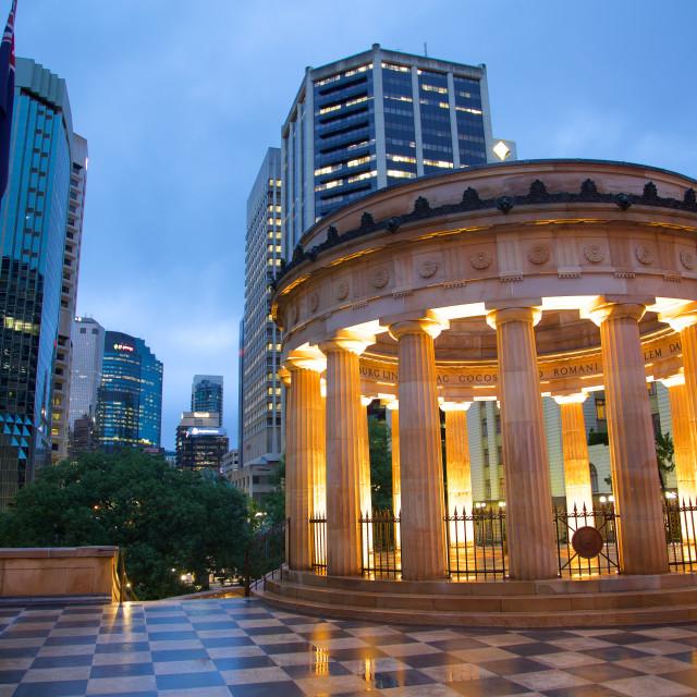 """Australia, Queensland, Brisbane, Anzac Memorial at Night"" stock image"