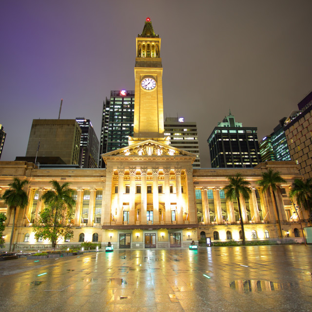 """Australia, Queensland, Brisbane, City Hall Illuminated"" stock image"