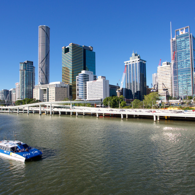 """Australia, Queensland, Brisbane, City Skyline from Victoria Bridge"" stock image"