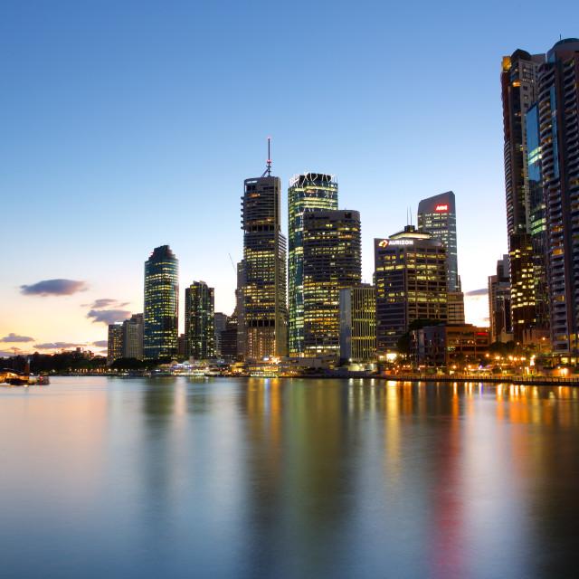 """Australia, Queensland, Brisbane, Brisbane River and City at Dusk"" stock image"