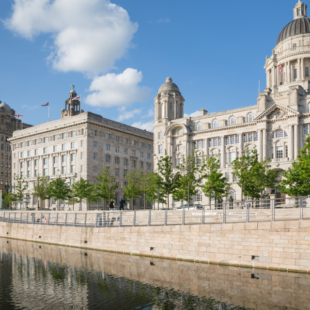 """Royal Liver Building, Cunard Building and Port of Liverpool Building, UNESCO..."" stock image"
