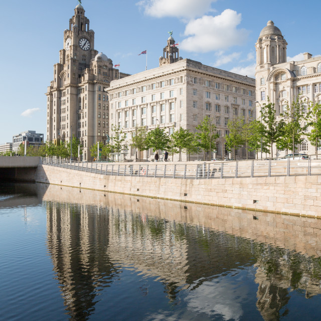 """""""Royal Liver Building, Cunard Building and Port of Liverpool Building, UNESCO..."""" stock image"""