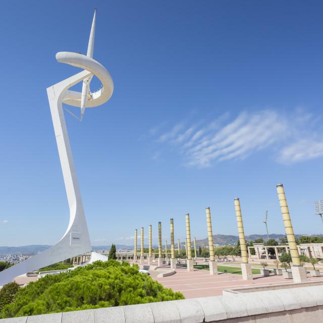 """Torre Calatrava or Torre Telefonica, Barcelona, Caltaluya, Spain, Europe"" stock image"