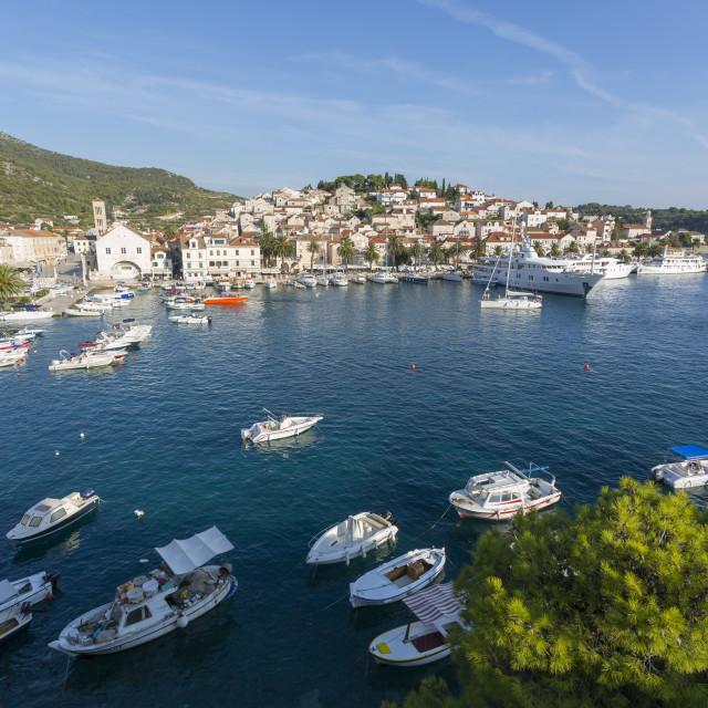 """View of Harbour, Hvar Island, Dalmatia, Croatia, Europe"" stock image"