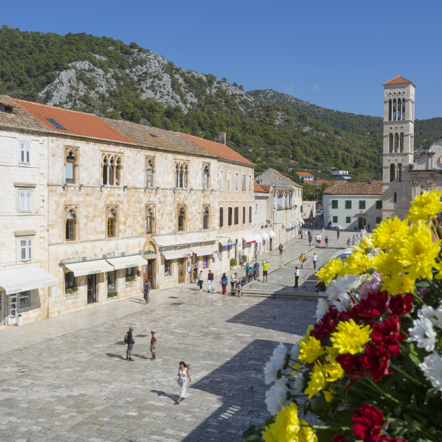 """Hvar Main Square Hvar Island, Dalmatia, Croatia, Europe"" stock image"