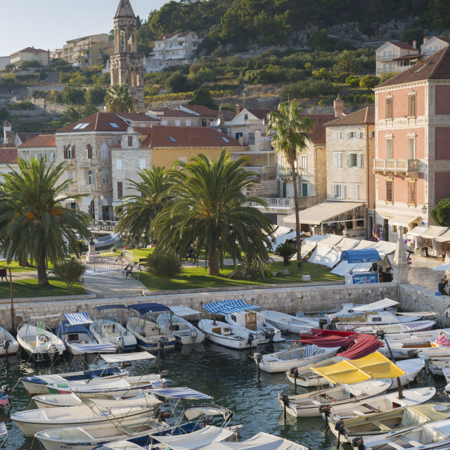 """View of Hvar Harbour, Hvar Island, Dalmatia, Croatia, Europe"" stock image"