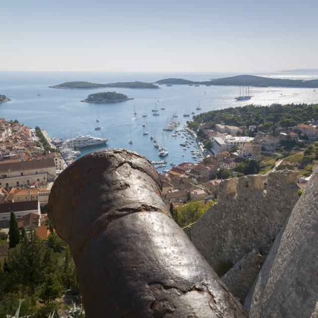 """View over Hvar from Spanish Fortress, Hvar Island, Dalmatia, Croatia, Europe"" stock image"