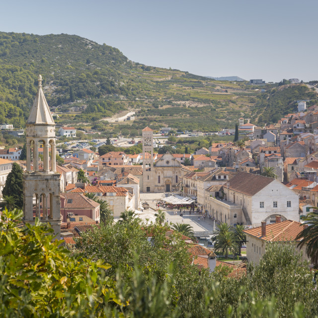 """View over Hvar, Hvar Island, Dalmatia, Croatia, Europe"" stock image"