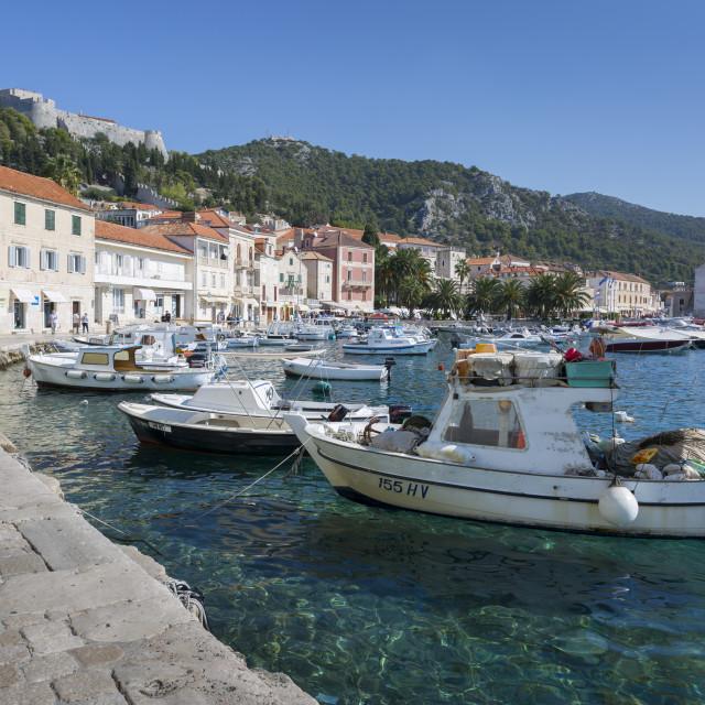 """Harbour and Spanish Fortress, Hvar, Hvar Island, Dalmatia, Croatia, Europe"" stock image"