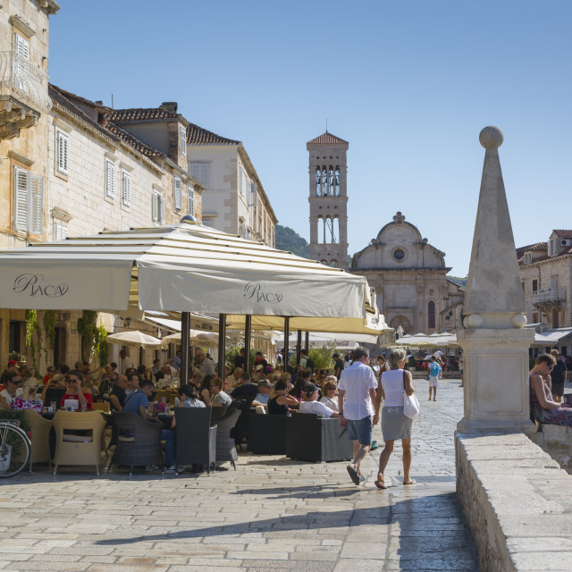"""Main Square, Hvar, Hvar Island, Dalmatia, Croatia, Europe"" stock image"