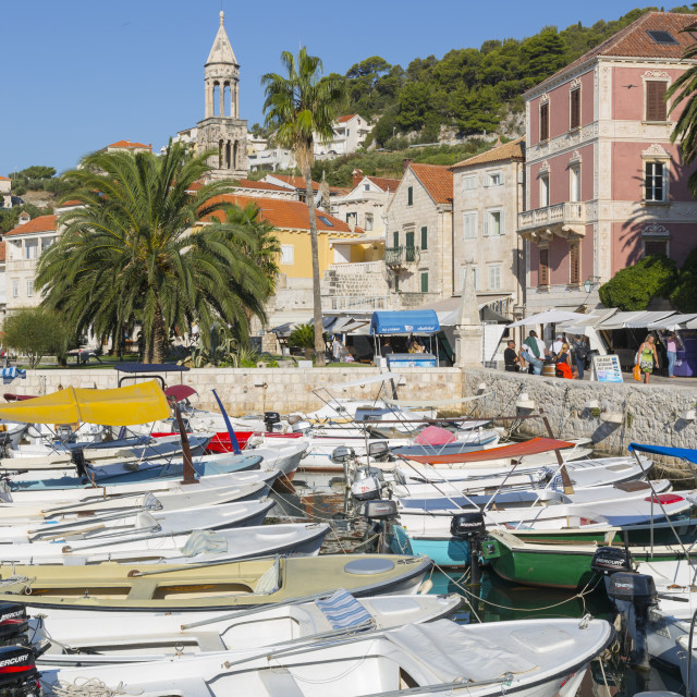 """Harbour Boats, Hvar, Hvar Island, Dalmatia, Croatia, Europe"" stock image"