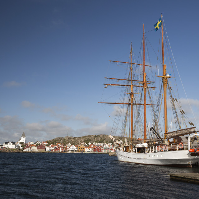 """Tall ship in harbour, Skarhamn, Tjorn, Bohuslan Coast, Southwest Sweden,..."" stock image"