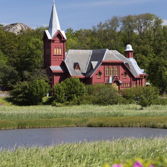 """Halleviksstrands Kyrka church, Halleviksstrand, Orust, Bohuslan Coast,..."" stock image"
