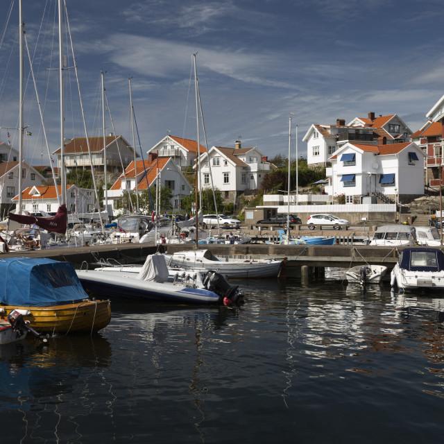 """View over harbour of old fishing village, Mollosund, Orust, Bohuslan Coast,..."" stock image"