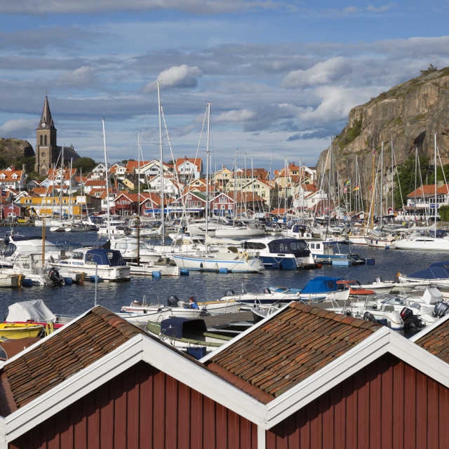 """""""View over harbour and Vetteberget cliff, Fjallbacka, Bohuslan Coast,..."""" stock image"""