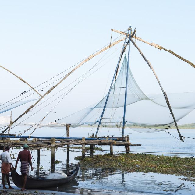 """Chinese nets at dawn, Fort Kochi (Cochin), Kerala, India"" stock image"