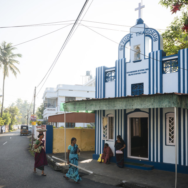 """Exterior of church, Fort Kochi (Cochin), Kerala, India"" stock image"