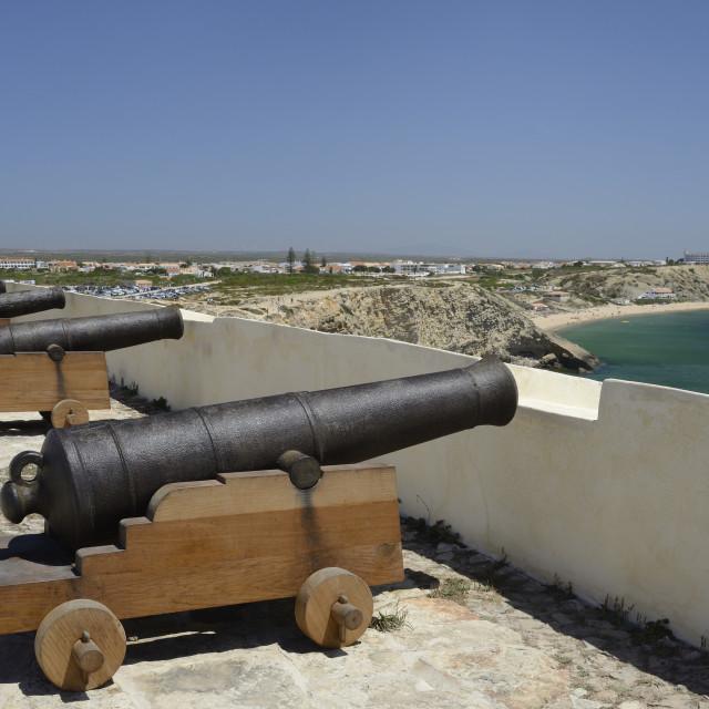 """""""Row of cannons at Sagres fort (Fortaleza de Sagres), Ponta de Sagres,..."""" stock image"""