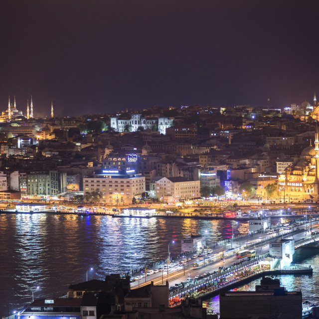 """Istanbul at night, with Blue Mosque on left, New Mosque on right and Galata..."" stock image"