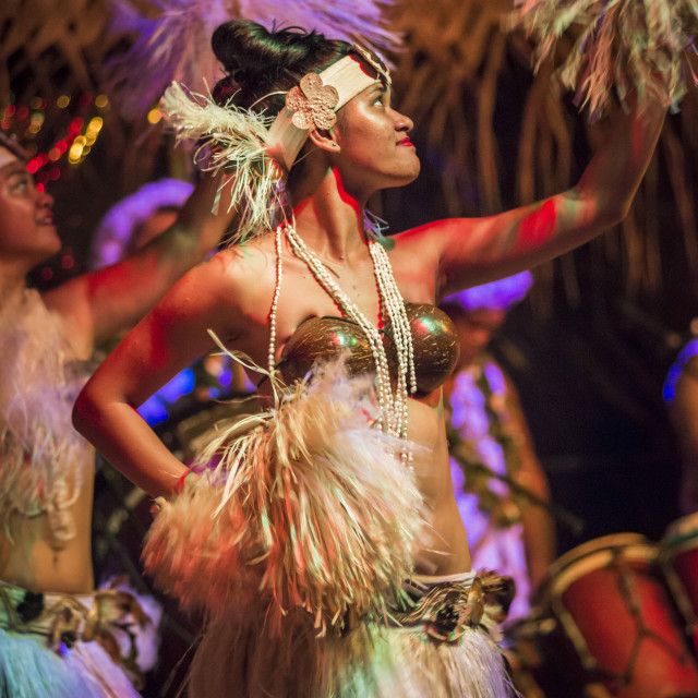 """""""Highland Paradise, Drums of our Forefathers Cultural Show, Rarotonga, Cook..."""" stock image"""