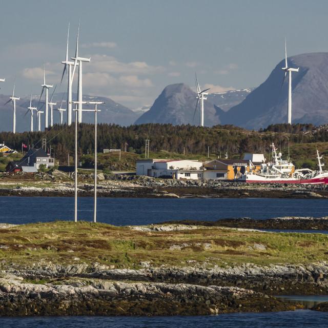 """View of massive wind turbines in a wind farm near Smola Island, Norway,..."" stock image"