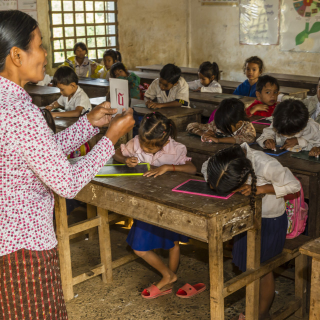 """""""School children in class in the village of Kampong Tralach, Tonle Sap River,..."""" stock image"""