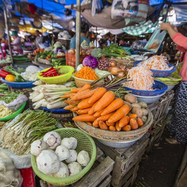 """""""Fresh produce at local market in Chau Doc, Mekong River Delta, Vietnam,..."""" stock image"""