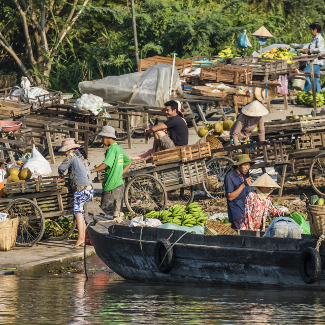 """""""Families at floating market selling produce and wares in Chau Doc, Mekong..."""" stock image"""
