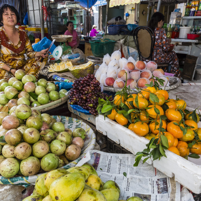 """""""Fresh produce for sale at local market in Chau Doc, Mekong River Delta,..."""" stock image"""