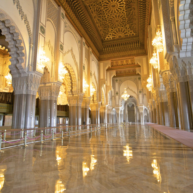 """""""Interior of Hassan ll Mosque, Casablanca, Morocco, North Africa, Africa"""" stock image"""