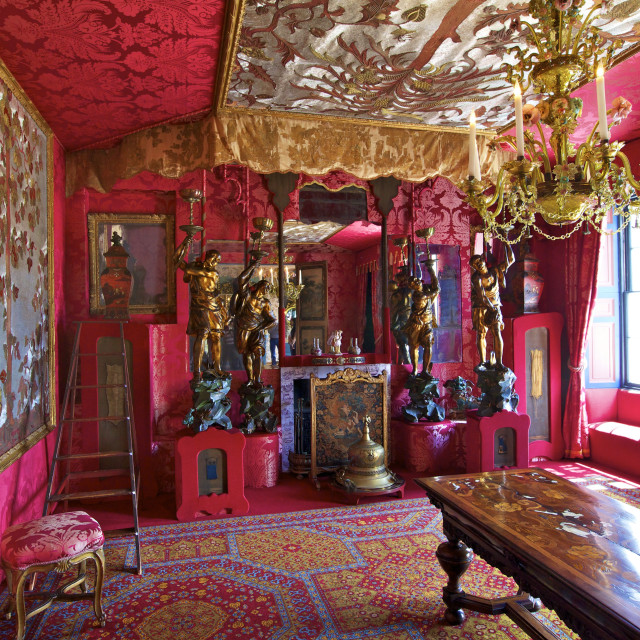 """The Red Drawing Room, Hauteville House, Victor Hugo's House, St. Peter Port,..."" stock image"