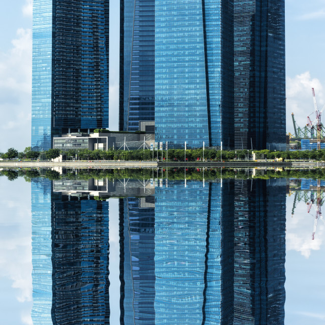 """""""Reflections, Downtown Central financial district, Singapore, Southeast Asia,..."""" stock image"""