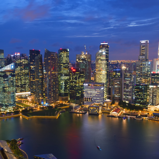"""""""Downtown central financial district at night, Singapore, Southeast Asia, Asia"""" stock image"""