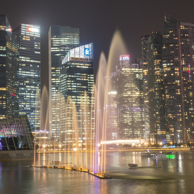 """""""Lightshow in front of downtown central financial district at night,..."""" stock image"""