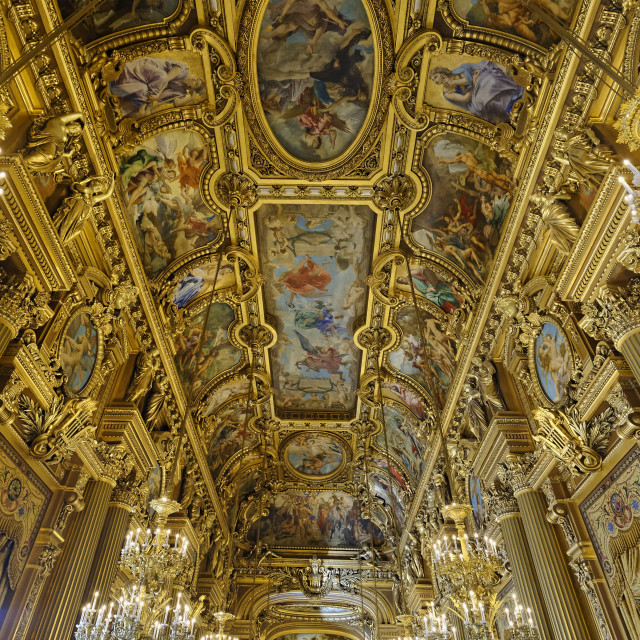 """Le Grand Foyer with frescoes ornate ceiling by Paul Baudry, Opera Garnier,..."" stock image"