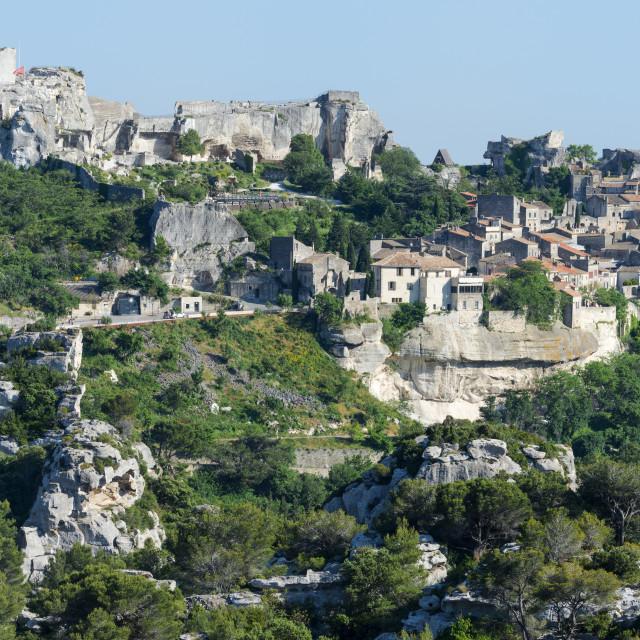"""""""Les Baux de Provence, Medieval village, Bouches du Rhone, Provence Alpes Cote..."""" stock image"""