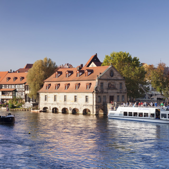 """""""Old Crane at Regnitz River, excursion boat, alter Schlachthof (Old..."""" stock image"""